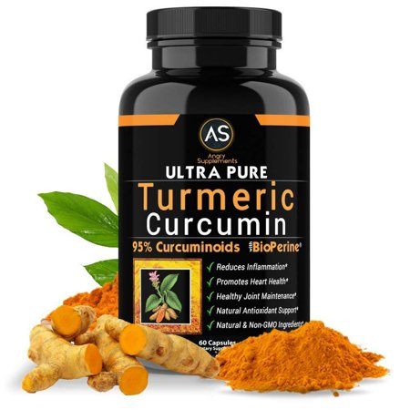 Ultra Pure Turmeric Curcumin with BioPerine, Black Pepper Extract, 95% Curcuminoids, Best All Natural Powerful Antioxidant, NON-GMO, Joint Support, Heart Heath,.., By Angry