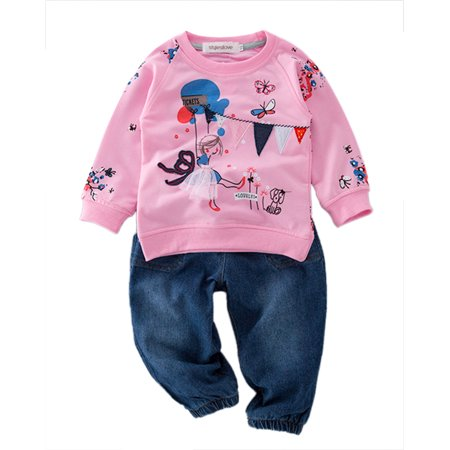 StylesILove Pattern Sweatshirt and Jeans Little Girl Outfit (2-3 Years) Pink
