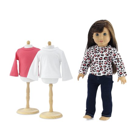 18 Inch Doll Clothes | Blue Stretch Skinny Jeans with 3 Soft, Long Sleeved T-Shirts Basics Value Outfit | Fits American Girl - Jeans Doll Clothes