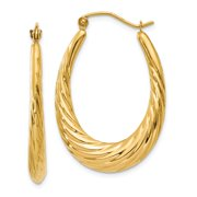 Primal Gold 14 Karat Yellow Gold Polished Twisted Oval Hollow Hoop Earrings