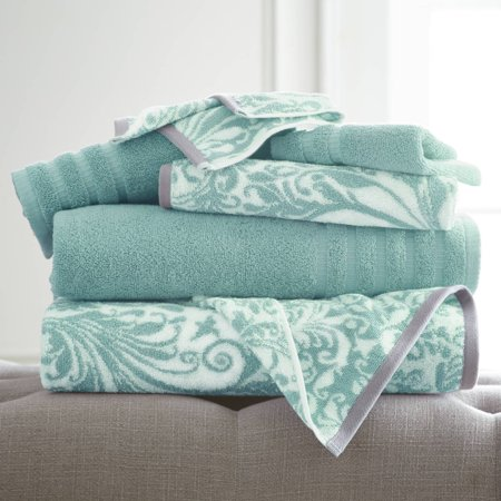 Image of 6 pc Yarn Dyed towel Filigree Swirl Aqua