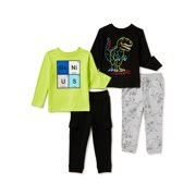 Garanimals Baby Boy & Toddler Boy Long-Sleeve T-Shirts, Pants and Cargo Joggers Outfit Set, 4-Piece (12M-5T)