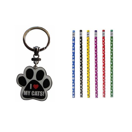 Bundle 2 Items: One (1) I Love My Cats! Paw Print Keychain and a Lot of Twelve (12) Paw Print Pencils