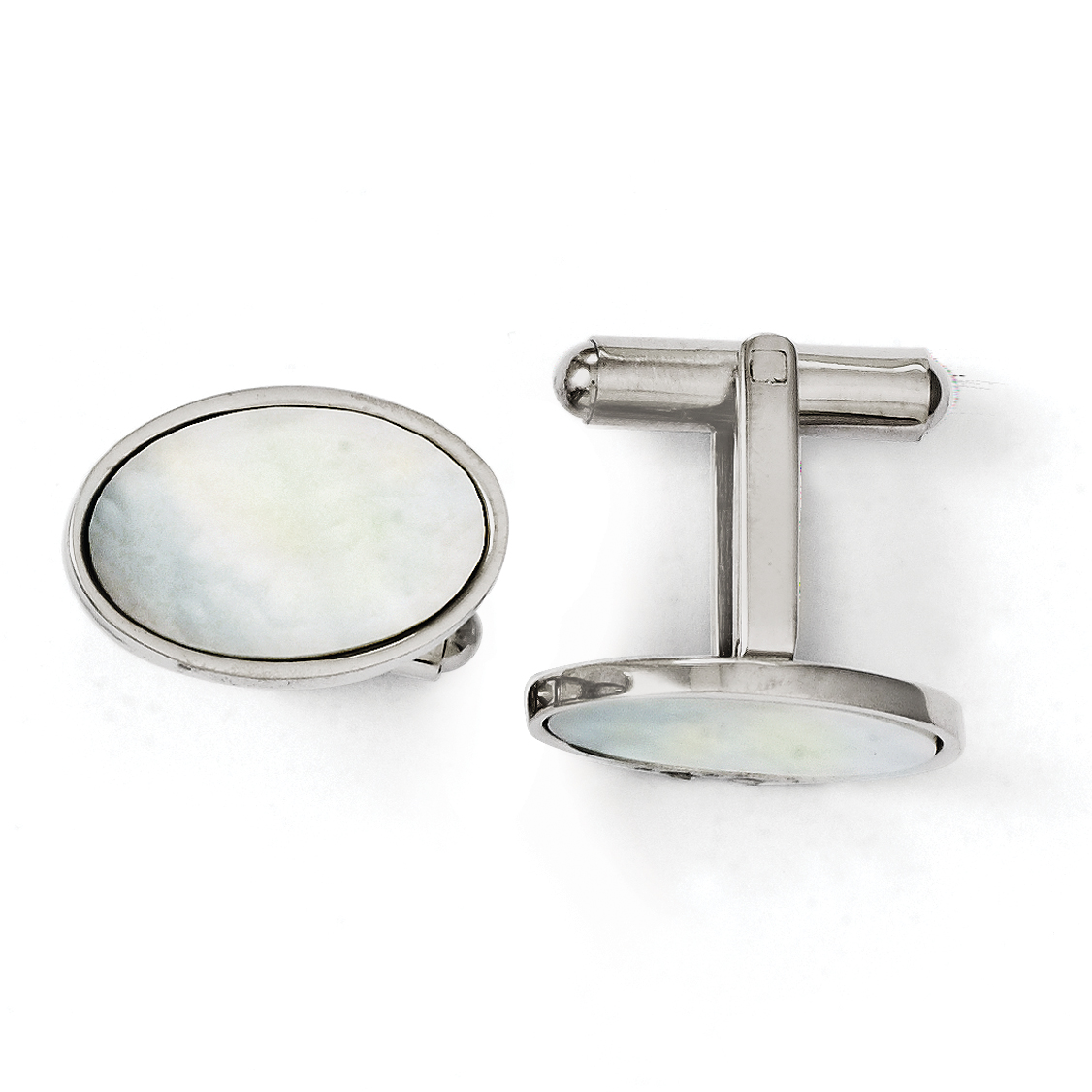 Roy Rose Jewelry Stainless Steel Mother of Pearl Polished Cuff Links