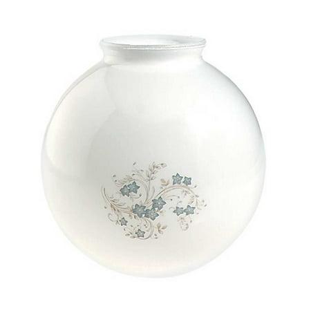 Glass Lamp Shade White/Blue Globe 8.25