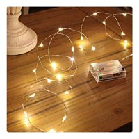 Sanniu Led String Lights, Mini Battery Powered Copper Wire Starry Fairy Lights, Battery Operated Lights for Bedroom, Christmas, Parties, Wedding, Centerpiece, Decoration (5m/16ft Warm Whit