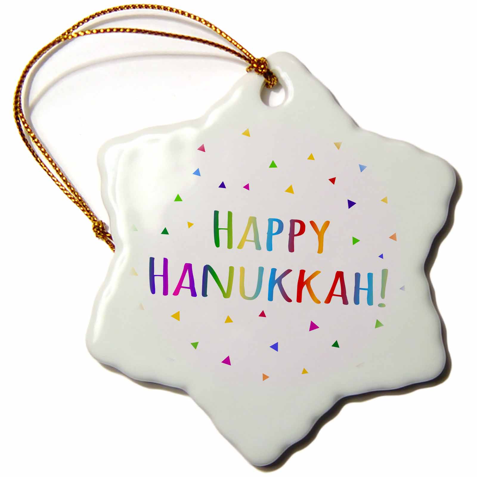 3dRose Happy Hanukkah - Jewish holiday of light - colorful rainbow text, Snowflake Ornament, Porcelain, 3-inch