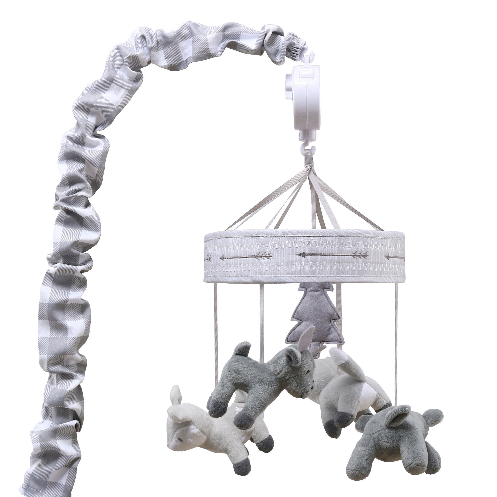 Grey Woodland Animal Digital Musical Crib Mobile - Forest Dream Collection by The Peanut Shell