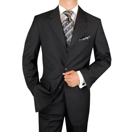 DTI GV Executive Men's Italian Suit Wool 3 Button Stripe 2 Piece Jacket Pants Gray Stripe Wool 3 Button Italian