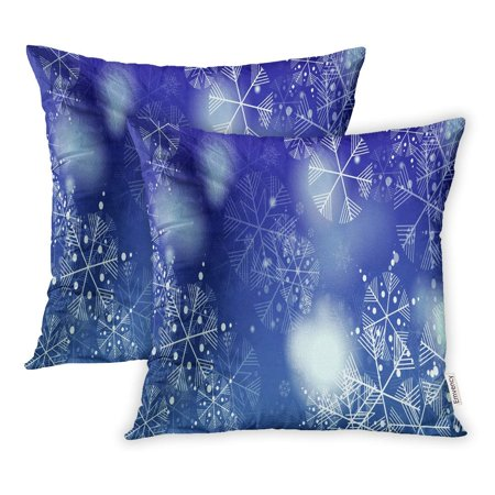 BSDHOME Celebrate Beautiful Christmas Falling Snowflakes of Snow for on Blue Pillow Case Pillow Cover 16x16 inch Set of 2 - image 1 of 1