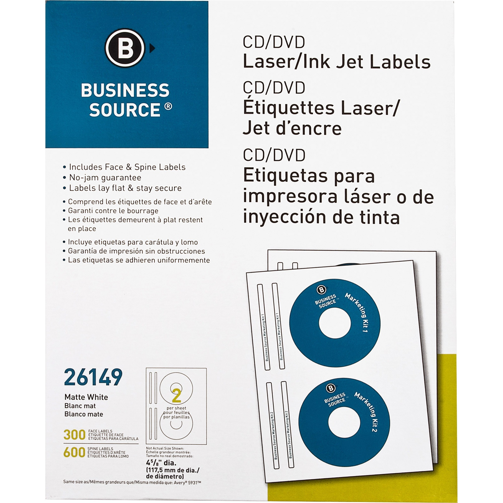Business Source Laser/Inkjet CD/DVD Labels