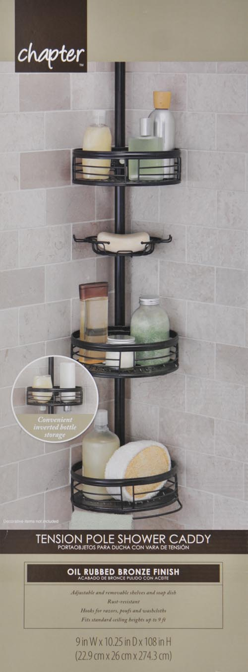 Tension Pole Caddy Corner Shower Holder Home Zenith 3-Shelf Oil ...