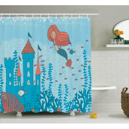 Kids Shower Curtain Set Illustration Art Of Little