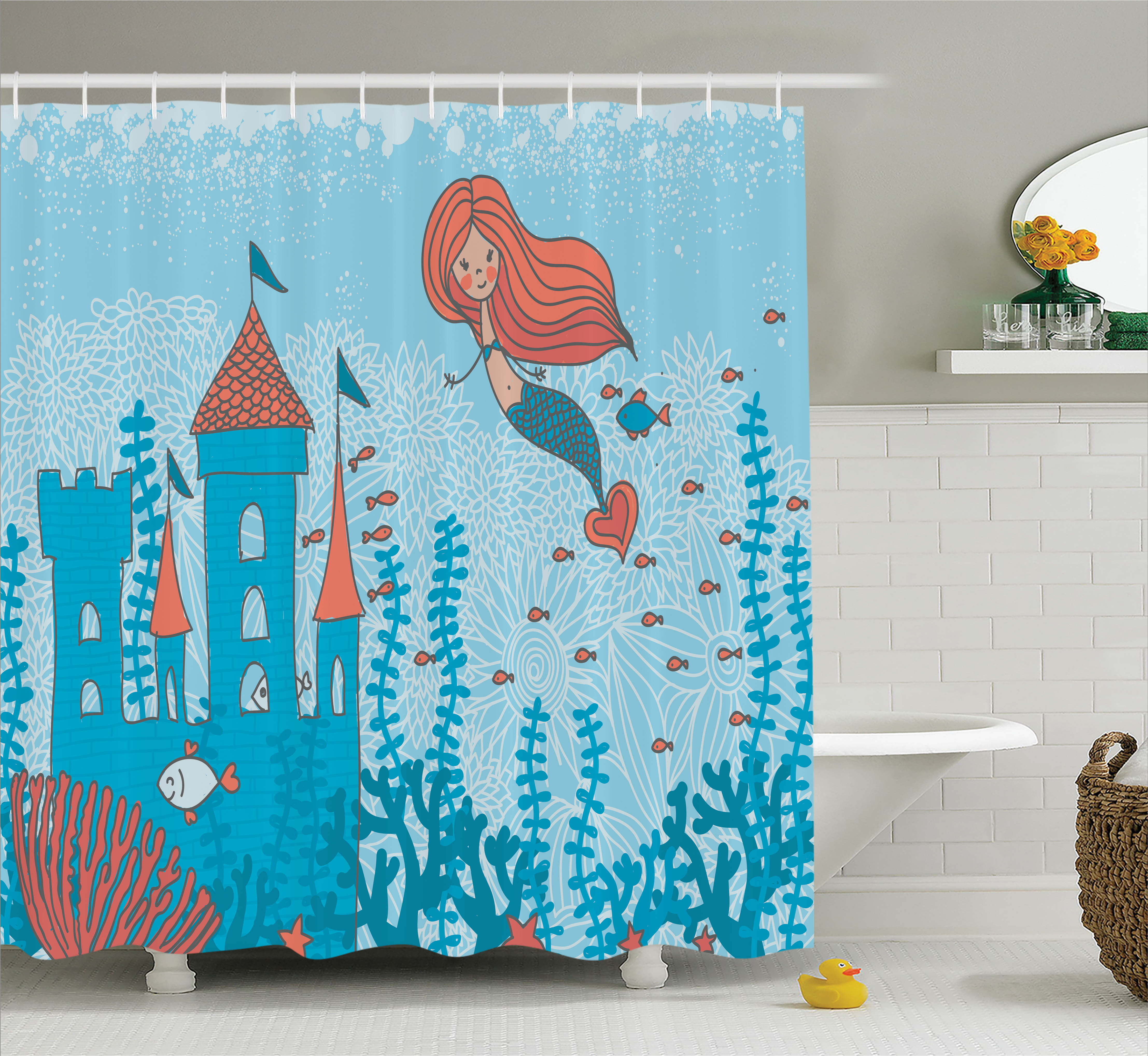 Superieur Kids Shower Curtain Set, Illustration Art Of Little Mermaid Under The Sea  In Corals With