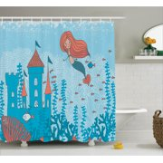 Kids Shower Curtain Set Illustration Art Of Little Mermaid Under The Sea In Corals With