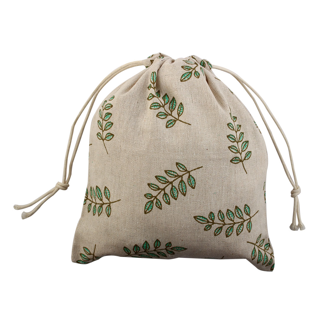Leaf Pattern Home Travel Protable Sundries Storage Wedding Candy Gift Pouch String Drawstring Bag Medium
