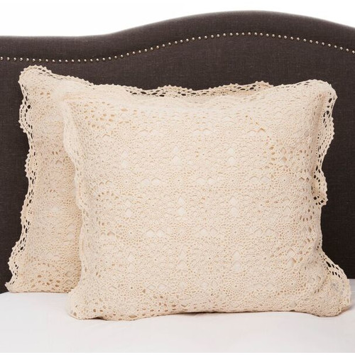 Melange Home Handmade Crochet Cotton Euro Sham (Set of 2)