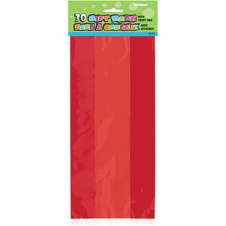 Plastic Cellophane Bags, 11 x 5 in, Red, 30ct (Halloween Pumpkins Cellophane Bag)