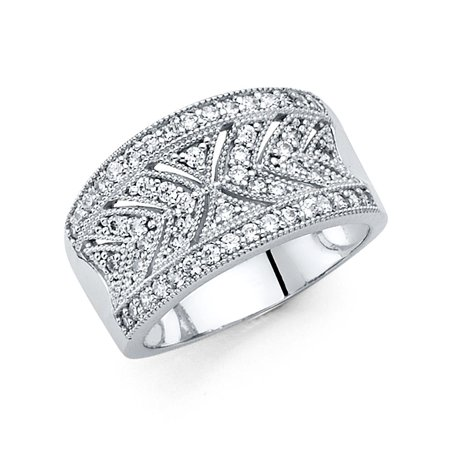 Vintage Style Right Hand Ring (Right Hand Ring Solid 14k White Gold Band CZ Vintage Style Filigree Pave Design Polished Fancy)