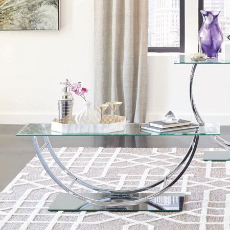 Coaster 704988-CO Glass Top Coffee Table, Chrome ()