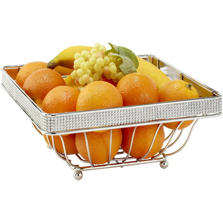 Simplify Square Fruit Basket, Chrome Pave Diamond (Birthday Chocolate Fruit Basket)
