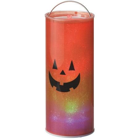 Lights Up LED Happy Halloween Orange Jack O' Lantern Hanging 12 Inch Pillar