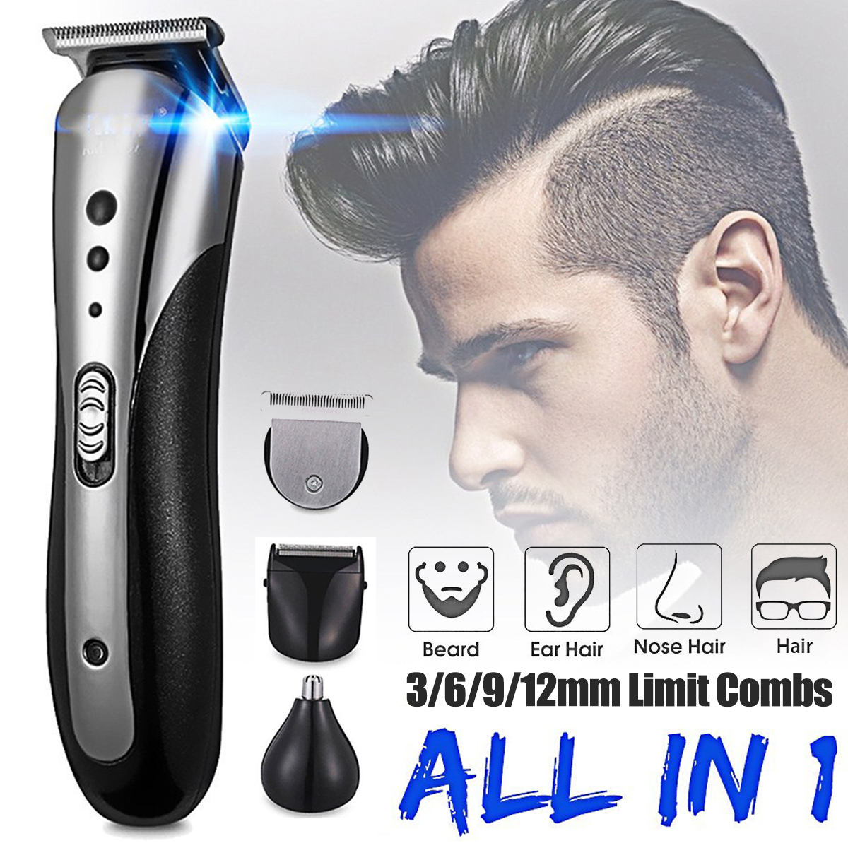 Kemei All In 1 Cordless Electric Men S Personal Grooming Kit Beard Shaver Razor Hair Clipper Nose Trimmer Rechargeable Walmart Com Walmart Com