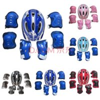 7Pcs Boys Girls Roller Skating Cycling Bike Skate Safety Helmet Knee Elbow Pad Set