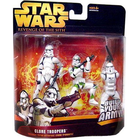 Green Clone - Star Wars Revenge of the Sith 2005 Deluxe Clone Troopers Action Figure Set [Green Stripe]