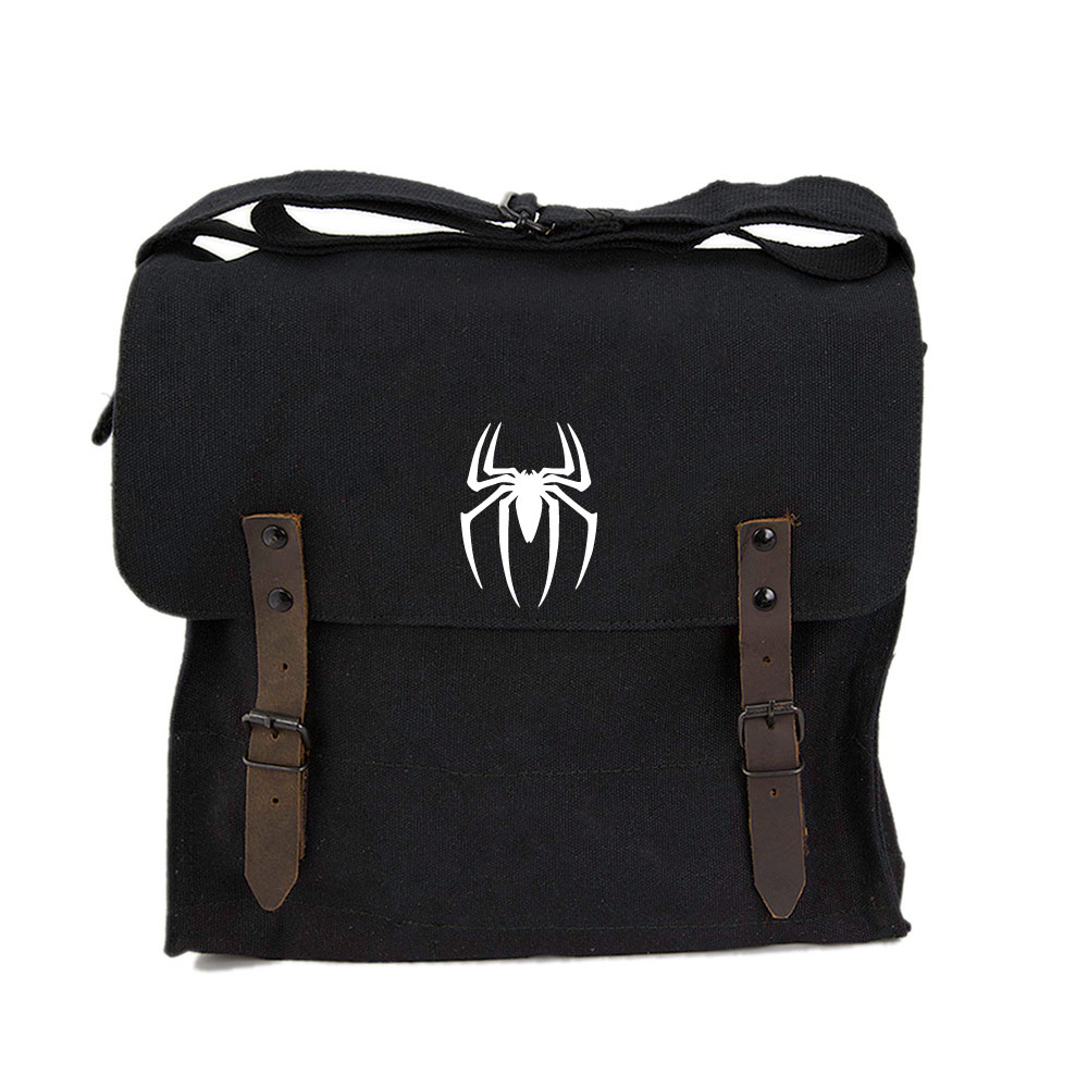 Spiderman Symbol Army Sport Heavyweight Canvas Backpack Bag in Olive /& Red Small Grab A Smile