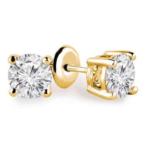 Majesty Diamonds Solitaire Round Diamond Stud Earrings in 14K Yellow Gold, 0. 14 Carat
