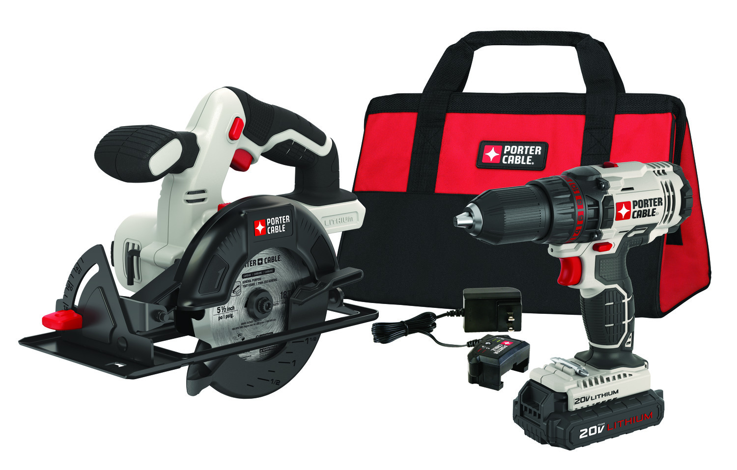 PORTER CABLE 20-Volt Max Lithium-Ion 1/2-Inch Cordless Drill & 5 1/2-Inch Circular Saw, PCCK612L2