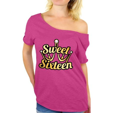 Awkward Styles Sweet Sixteen Off the Shoulder Shirt for Ladies Cute 16th Birthday Party Tee My Super Sweet Sixteen Cute Birthday Party Shirt