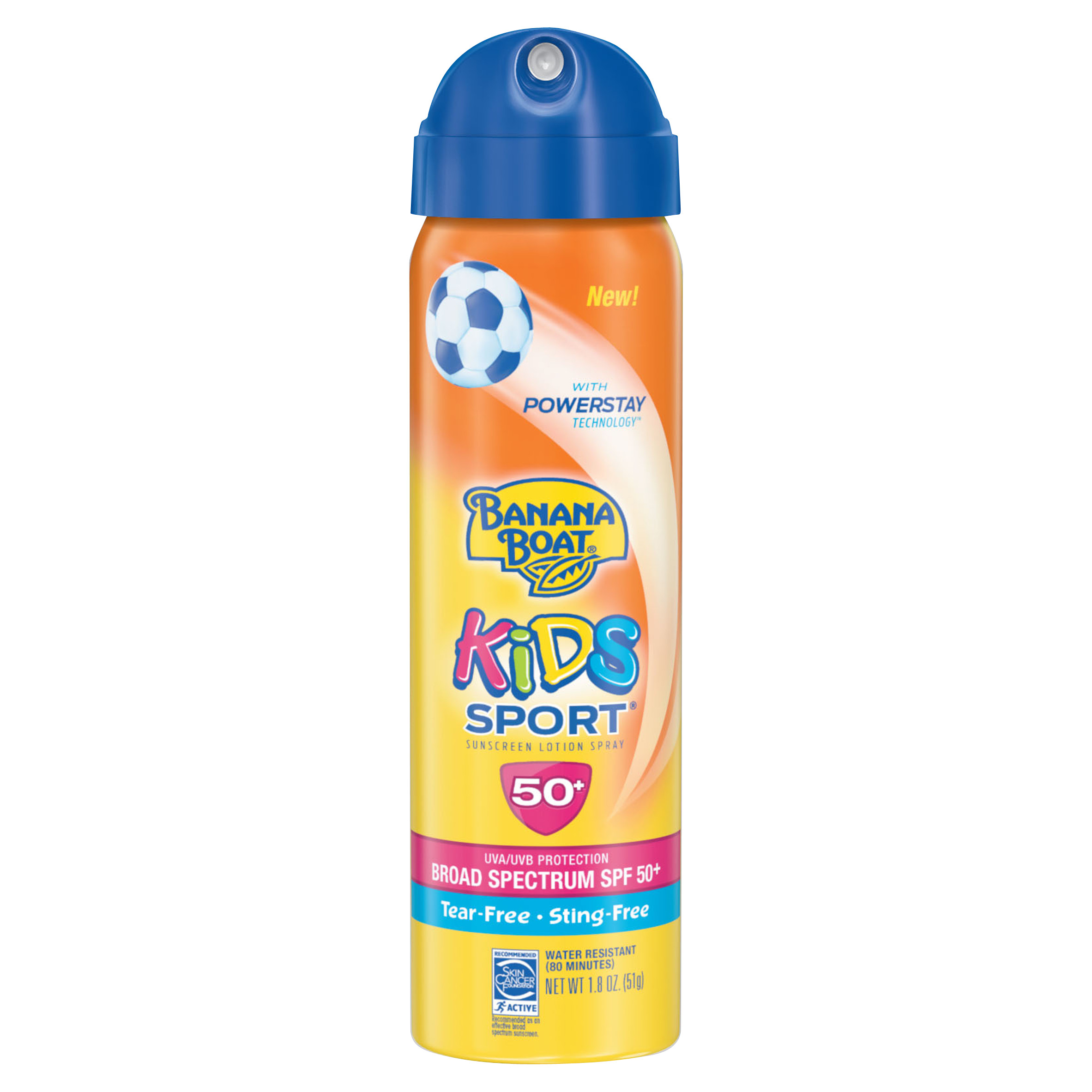 Banana Boat Kids Sport Tear-Free, Sting-Free Broad Spectrum Sunscreen Lotion Spray, SPF 50+ - 1.8 Ounces