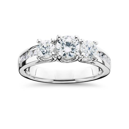 Three Stone Diamond Engagement Ring 2 Carat 14k White Gold Round Cut Solitaire ()