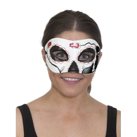 Day Of The Dead Half Mask (Day of the Dead Half Mask Unisex White, Black and Red)