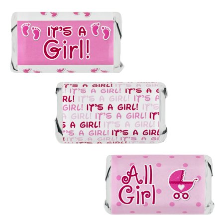 It's a Girl Pink Baby Shower Favor Stickers for Hershey's Miniatures Candy Bars (Set of - Baby Shower Favors For A Girl