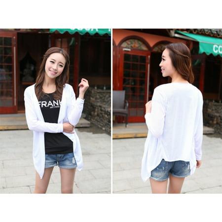 Spring Autumn Women Cardigan Long Sleeve Sun Protection Shawl Knitting Thin Sweater Female Clothing white Free size