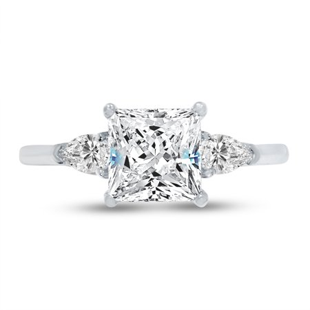 Sterling Silver Princess Cut Solitaire - Solid 925 Sterling Silver Princess Cut Three Stone Solitaire Engagement Ring CZ Cubic Zirconia (2.0cttw., 1.50ct. Center) , Size 7