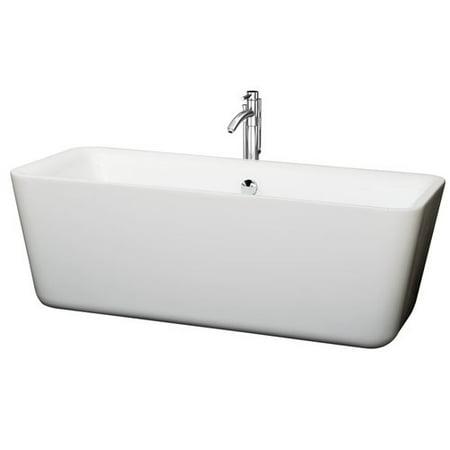 Wyndham Collection Emily 69 inch Freestanding Bathtub in White with Fl