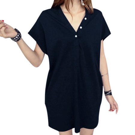 7330ee9942d Unique Bargains - Allegra K Women's Korean Style V Neck Button ...