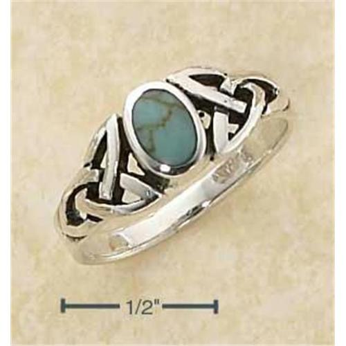Sterling Silver Genuine Oval Turquoise Ring with Celtic Knot s Shank - Size: 7