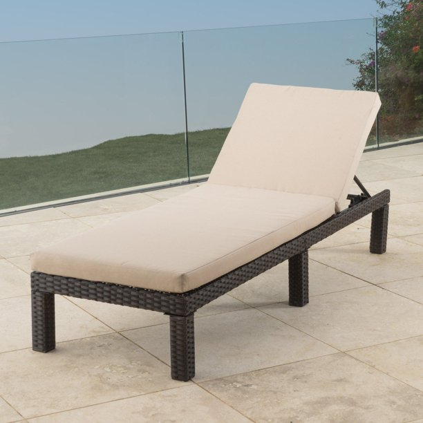 Kappa Wicker Patio Chaise Lounge With, Pool Chaise Lounge Chairs In Water