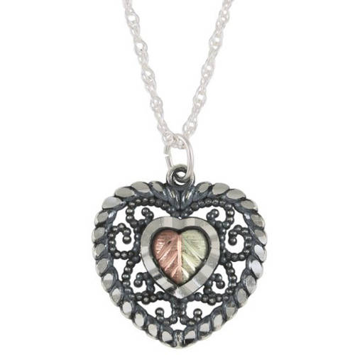Black Hills Gold Sterling Silver Oxidized Heart Pendant, 18""