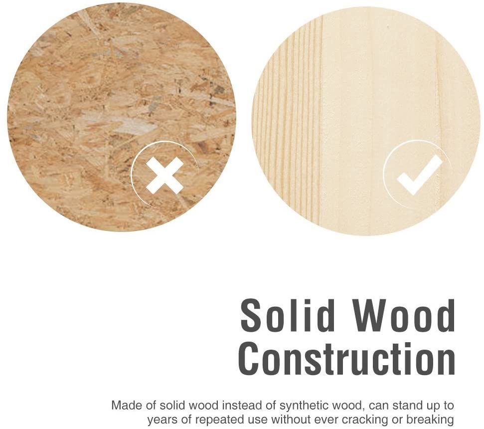 Holds Up to 264LBS Perfect Height for Nursery Kitchen or Bathroom White Color DECOZY Wooden Step Stool with Non- Slip Great for Both Toddlers /& Adults