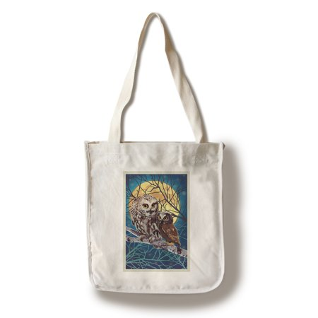 Owl & Owlet - Letterpress - Lantern Press Poster (100% Cotton Tote Bag - Reusable) - Owl Tote