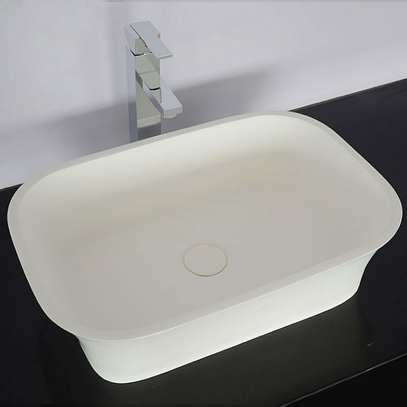 Decoraport White Rectangular Artificial Stone Above Counter Bathroom Vessel Sink Above Counter Sink Bowl Vanity Basin (HB9030)