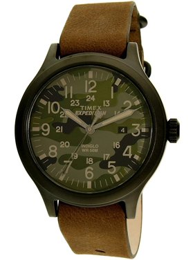 Men's Expedition Scout 43 Green Camo Dial Watch, Brown Leather Strap
