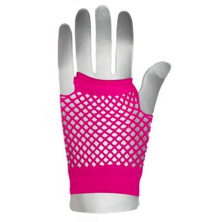 Veil Entertainment Fingerless Rave Neon 2pc Fishnet Gloves, One-Size