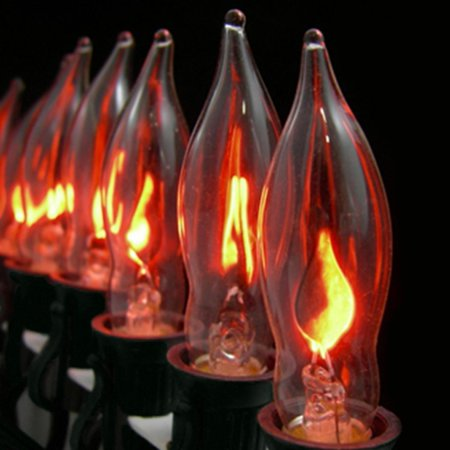 Set of 10 Flickering Amber Flame C7 Halloween Lights - Black Wire for $<!---->